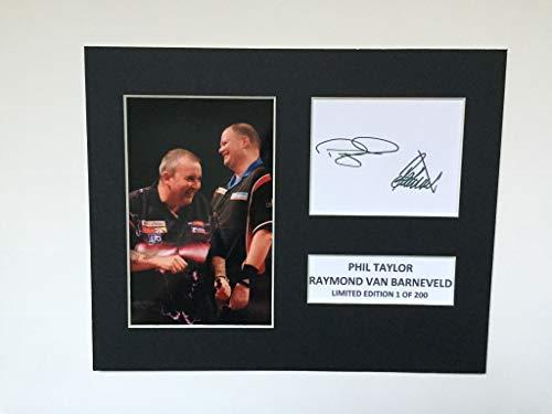 Limited Edition Phil Taylor und Raymond van Barneveld unterzeichnet Display bedruckter Autogramm, Boxen Autograph, signierter Mount Rahmen