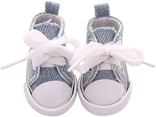 WeiHaoJian Pop Accessori Scarpe 5cm Tela Denim Mini Giocattoli Shoes1/6 Abito Scarpe da Ginnastica Stivali - Navy, Normal