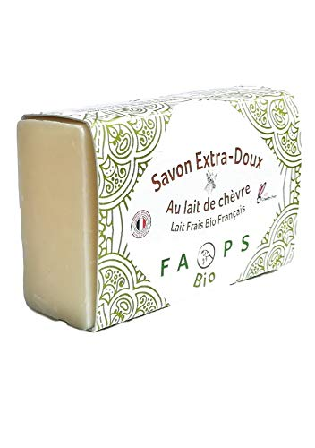 Savon Artisanal Français 12% lait de Chèvre frais BiO. Sans Huile de Palme-Sulfates-Silicon-Paraben-EDTA-MIT-Alcool-Colorant-OGM.Non testé sur animaux 100g.Testé UFC QUE CHOISIR