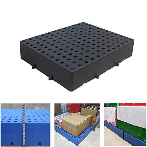 LIANGJUN-Palés Pallet plástico Almacén Almacenamiento Cuadrícula Ventilación Resistente Al Desgaste Almacenar Jardín Al Aire Libre Portátil, 2 Colores, Tamaño 4 (Color : Black, Size : 40x60x10cm)