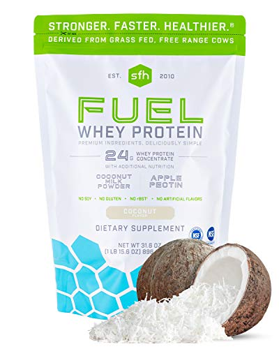 Fuel Whey Protein Powder (Coconut) by SFH | Great Tasting Grass Fed Whey | MCTs & Fiber for Energy | All Natural | Soy Free, Gluten Free, No RBST, No Artificial Flavors | 28 Servings (2 lb Bag) (Best Gud Night Sms)