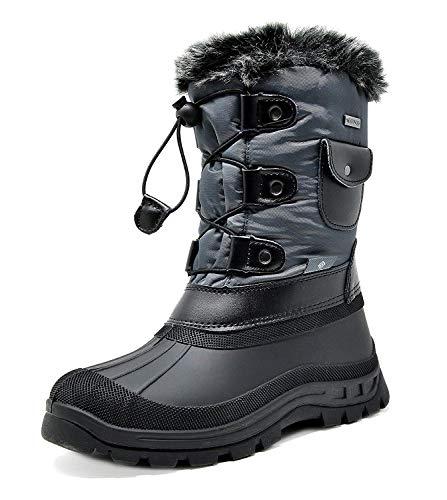 DREAM PAIRS Little Kid Ksnow Grey Black Isulated Waterproof Snow Boots - 2 M US Little Kid