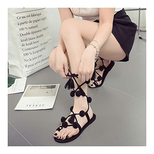 QLBF Sandalias de verano para mujer Casual Cómodas Sandalias for la bola de pelo de la franja de las sandalias del color de la correa de las sandalias de playa zapatos plana Mujeres cómodo Sandalias d