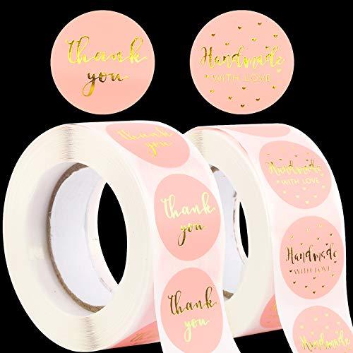 1000pcs 2,5cm Papel Pegatinas Handmade with Love Thank you Etiquetas Adhesivas Redondas Gracias Decoración Cajas Bolsas Regalos Invitados Boda Fiesta Navidad