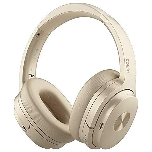 Cowin SE7 Active Noise Cancelling Bluetooth Kopfhörer Kabellos Kopfhörer Over Ear mit Mikrofon/Aptx, Bequeme Protein-Ohrpolster 50H Playtime, Faltbare Kopfhörer für Reisen/Arbeiten - (Gold)
