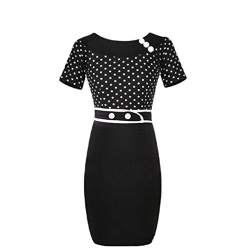 Ro Rox Polka Retro Pinup 50er Jahre Kleid Bleistiftkleid - Schwarz & Weiß (M)