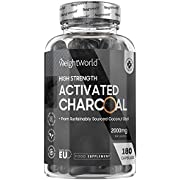 Activated Charcoal - 2000mg Per Daily Serving - 180 Capsules - Natural Coconut Charcoal Capsules for Bloating & Gas, Digestion & Flatulence, Natural Relief, Vegan & Keto Friendly Supplement