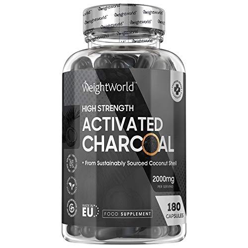 Charbon Actif Végétal 2000 mg 180 Gélules Vegan, Gaz et Ballonnement (EFSA), Testé en Laboratoire par Agrolab 100% Naturel, Charbon Végétal Poudre de Noix de Coco Extra Fort