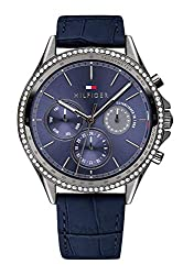 Stainless Steel Quartz Watch with Blue Leather Strap 1781979
