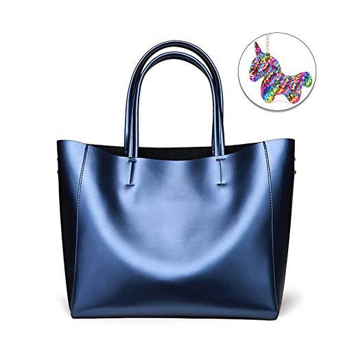 Woolala geparfumeerd zacht leer grote capaciteit laptop tas voor vrouwen, werk handtas weekend tote portemonnee met afneembare rits zak, One_Size, Blauw