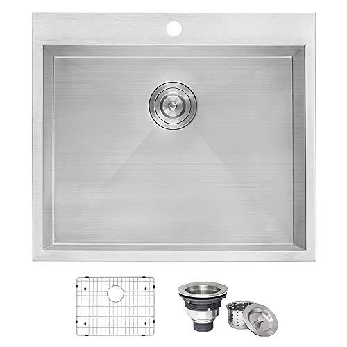 "Ruvati Topmount Laundry 22"" x 22"" x 12"" Deep Utility Sink 16 Gauge Stainless Steel - RVU6022"