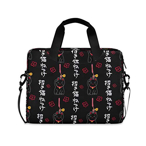 ALARGE Laptop Case Sleeve Cute Maneki Neko Luncky Cat 15-16 Inch Briefcase Travel Tote Messenger Notebook Computer Crossbody Bag with Strap Handle for Women Men
