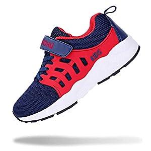 [WYSBAOSHU] スニーカー キッズ 子供靴 運動靴 男の子 女の子 軽量 通気 柔軟 滑り止め スポーツシューズ 通学履き カジュアルシューズ クッション性 メッシュ blue ブルー 18.0 cm