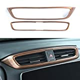 AntBooBoo for CRV Consoles Wind Outlet Air Vent Trim Central Panel Dashboard Frame Cover Stickers Peach Wood Grain Moulding for Honda CR-V 2017-2021
