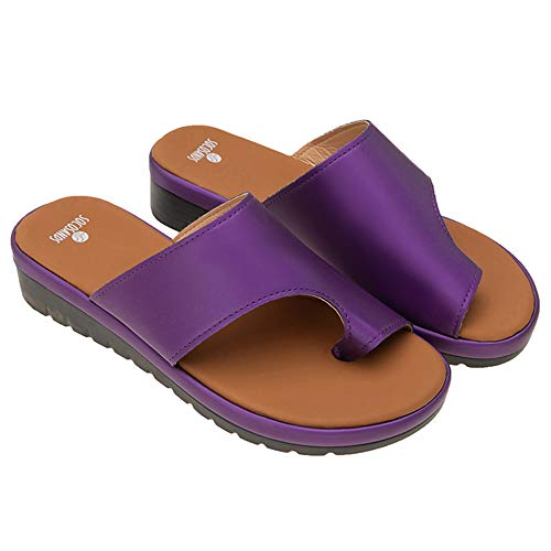 Comfy Platform Flat Sole PU Leather Shoes for Women Casual Soft Big Toe Foot Correction Sandal with Orthopedic Bunion Corrector (Purple, numeric_10)