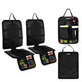 Ohuhu 4 Packs Thickest Child Car Seat Protectors and Kick Mat Car Back Seat Cover, 2 Sets Auto Seat Cover for Carseats and Kids Kick Mats with Backseat Organizer Pockets Storage, Perfect for Dog Mats