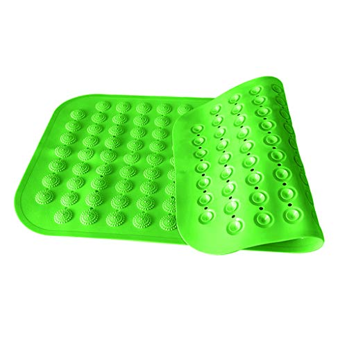 Gazechimp PVC Rubber Square Anti- Bathroom Shower Bath Mat with Suction Cup Green