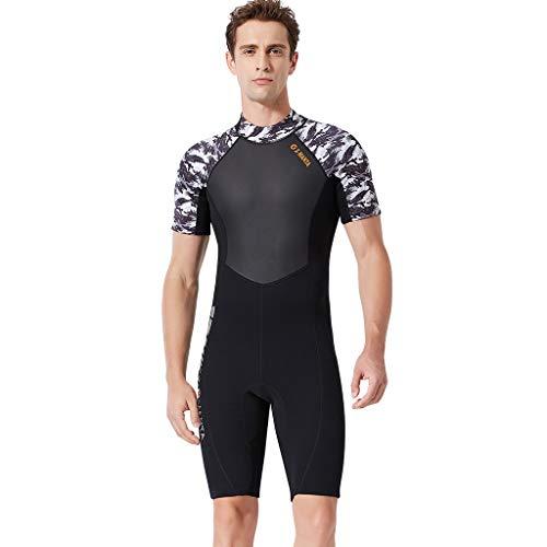 YUHUISTART Schwimmanzug Herren 1 Stück Neopren Wetsuit Kurzarm Neoprenanzug Tarnung Neopren Rash Guard für Tauchen, Schnorcheln und Schwimmen (Schwarz,M)