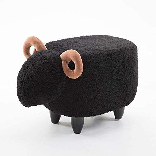 JIAL Tiere Schafe Fußhocker für Kinder Osmanische Plüsch Türen Schuhbank 4 Beine Massivholz Gepolstert Hocker Abnehmbare Reinigung (Farbe: Weiß, Größe: L63xw33xh36cm) Chongxiang