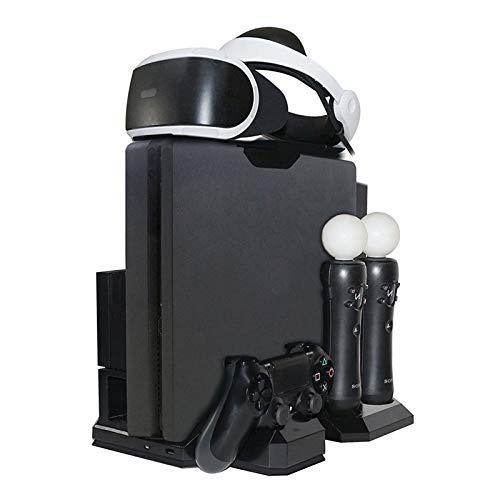 HPH Cargador De Soporte para Juegos para PS4 Y Estación De Carga Múltiple con Soporte Vertical,Enfriador De Ventilador De Enfriamiento,Almacenamiento De Juegos,Soporte para Auriculares PSVR