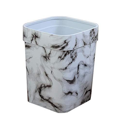Nff Trash Can, Plastic Imitation Marble Pattern Trash Can Without Cover With Pressure Ring For Living Room, Bathroom, Kitchen Trash Can 24×30.5cm