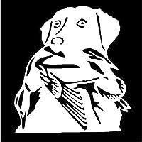 3枚カーステッカー13.6 * 14.6CMダックハントラブラドール犬カーステッカービニールデカールホワイト