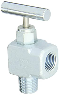 """PIC Gauge NV-CS-1/2-GS-90-MXF Carbon Steel 90° Angle Needle Valve with Gas Service Seat, 1/2"""" Male NPT x 1/2"""" Female NPT Connection Size, 6000 psi Pressure from PIC Gauges"""