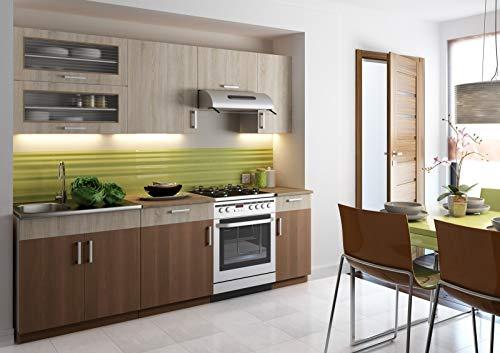 Muebles de Cocina Completa, 240 cms, Color Roble y Canela, Modulos cocinas ref-20