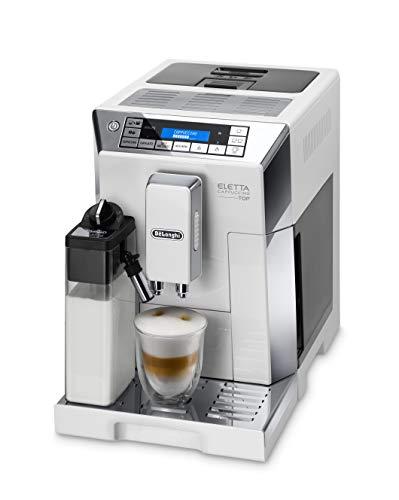 De'Longhi Eletta Cappuccino ECAM 45.766.W Kaffeevollautomat mit Milchsystem, Cappuccino und Espresso auf Knopfdruck, Digitaldisplay mit Klartext, 2-Tassen-Funktion, weiß