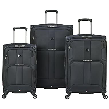 Delsey Luggage Sky Max 3 Piece Spinner Set, Black
