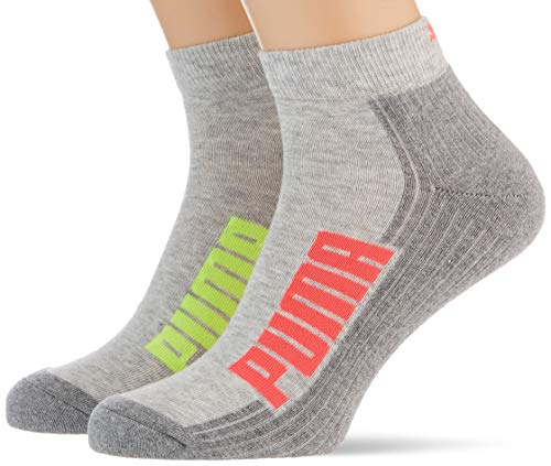 PUMA Unisex Puma Unisex Bwt Cushioned Quarter (2 Pack) Socks, Neon Pink, 39-42 EU