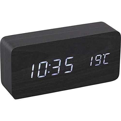 【1年保証有】 アイリスオーヤマ 置き時計 デジタル 目覚まし時計 めざまし時計 置時計 時計 木製 おしゃれ シンプル ブラック ICW-01W-B