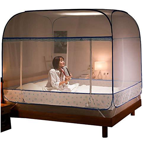 Tienda cuadrada de tres puertas Mosquito Neto Instalación gratuita Tienda de instalación 1.5 / 1.8m / 1.2m Cama Doble Casa Portátil plegable Adecuado for el hogar Al aire libre totalmente cerrado Prot