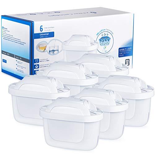 UOON 6 Cartuchos Filtros de Agua Compatible con Jarra BRITA MAXTRA+ de Color Blanco Tercera Generación Filtro Que reducen la Cal y el Cloro
