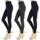 Libella 3 Paquetes leggings térmicos medias para mujer con forro polar dentro cintura alta 4152 Azul oscuro+Gris+Azul oscuro S/M