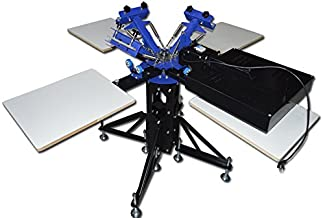 New 3 Color 4 Station Screen Printing Machine Screen & Platen Rotating Screen Printing Press with Dryer