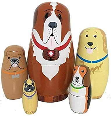 5pcs Cute and Funny Wooden Dog Stacking toys/Russian nesting dolls/Matryoshka gifts for kids(Multicolor)