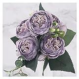 ZHMYENGMING Flores Artificiales 30 cm Rosa Rosa peonía de Seda Flores Artificiales Ramo 5 Gran Cabeza y 4 brotes Flores Falsas Baratas for casa decoración de Boda Interior (Color : Light Purple)