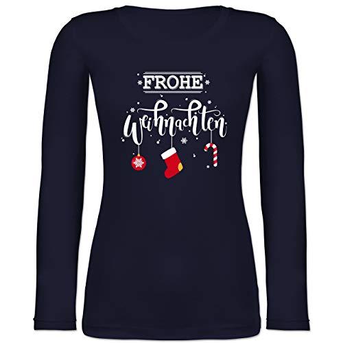Weihnachten & Silvester - Frohe Weihnachten Lettering - XXL - Marineblau - Langarmshirt Weihnachten - BCTW071 - Langarmshirt Damen