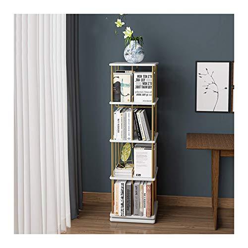 Librería Gira de madera sólida Estantería Humanizado Diseño Cuadrado Librería de múltiples capas Multifuncional Almacenamiento Multifuncional Estantería Dormitorio Armario de la noche para la oficina