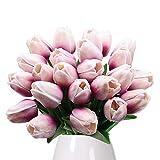 Bouquet di tulipani GKONGU Mazzo di 10 pezzi Realistico Latex Tulipano Artificiale Fiori Naturali Vibranti Naturali Per Decorazione Matrimonio Party Room-Viola