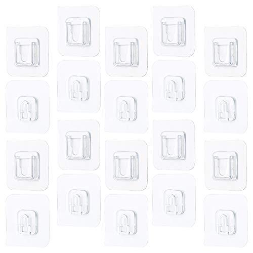 10 pares de ganchos de pared adhesivos de doble cara, resistentes al agua, para colgar en la pared, sin perforar ni clavos, para baño, cocina, oficina