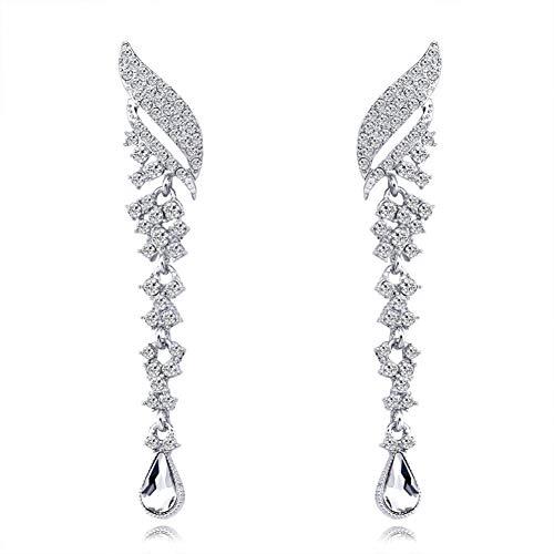 AIERSHI Mode Silber Farbe Strass Lange Ohrringe Für FrauenBräute Hochzeit Verlobungskleid Schmuck Geschenk