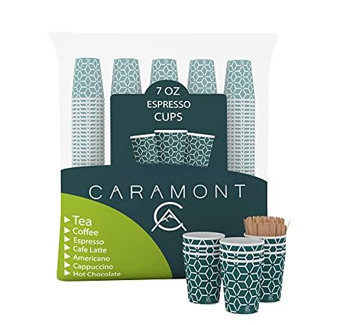 Caramont,400 Vasos de Cartón de 7 Onzas con Agitadores de Madera,Ecológicos y Desechables,Resistentes Al Calor, Ideales para Café,Té,Cumpleaños,Etc.