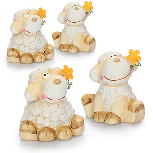 com-four® 4X Deko-Schaf aus Keramik mit Blume - Dekofiguren zur Osterdekoration - Dekoratives Osterlamm sitzend [Auswahl variiert] (4 Stück - Schaf - sitzend)