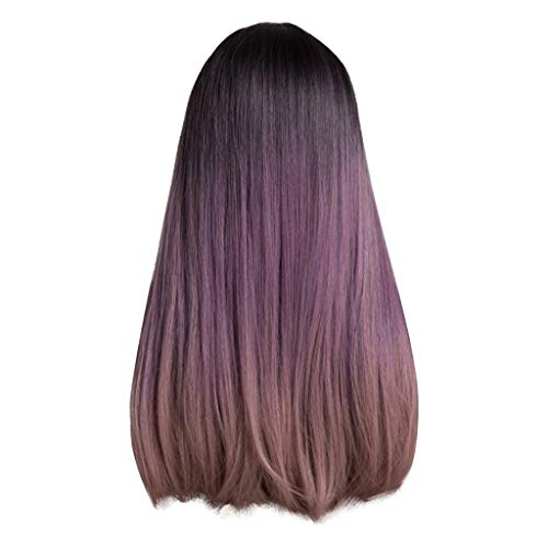 Goddesslili Long Straight Wig, Gorgeous High Temperature Wire Black Gradient Purple/Brown Long Straight Hair Wig Daily Wear Party Costume, Back to School Supplies