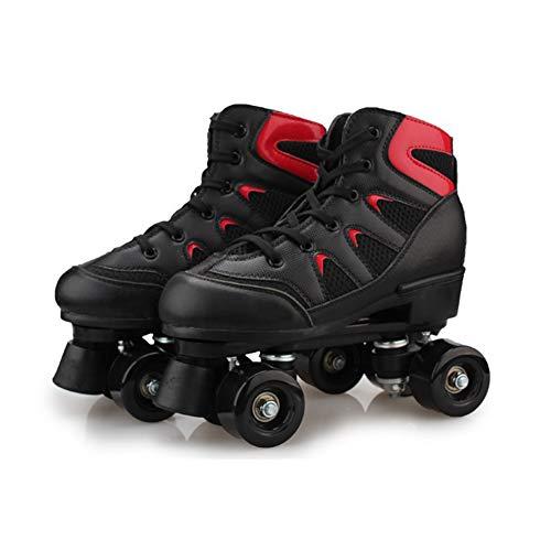 Meteor Retro Rollschuhe Disco Roll Skate Wie in Den 80Er Jugend Roll-Schuhe Kinder Quad Skate,Schwarz,35