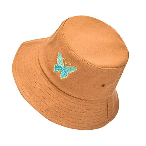 Eaylis Chic Frauen Schmetterling Stickerei Eimer Hut Faltbarer Anti-Sonnenbrand-Hut Sonnenhutkappe