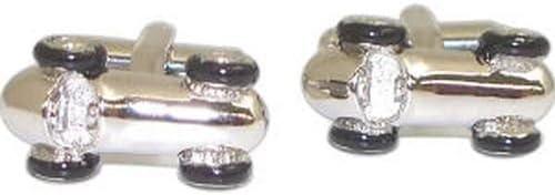 Rhodium Plated Cufflinks w/ Black Enamel,