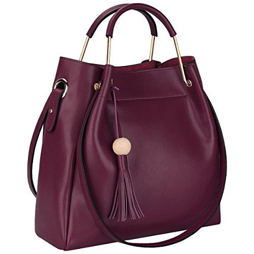 S-ZONE 3-Way Women Designer Leather Tassel Handbag Shouler Bag Crossbody Purse (Wine...